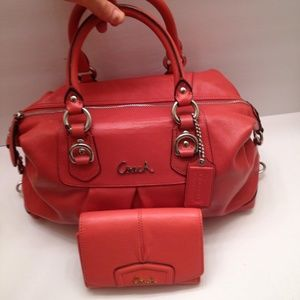 COACH ASHLEY SALMON LEATHER BAG AND WALLET SET